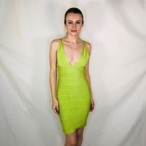 Herve Leger Vintage NEON Green Bandage Dress Sexy